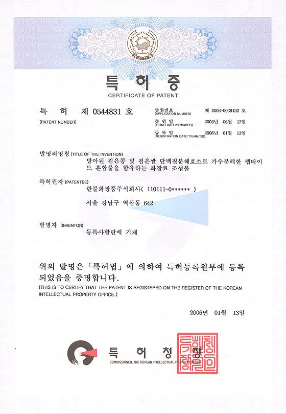 특허 제 0544831 호