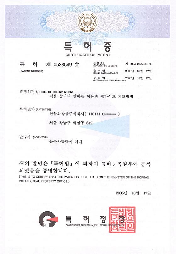 특허 제 0523549 호
